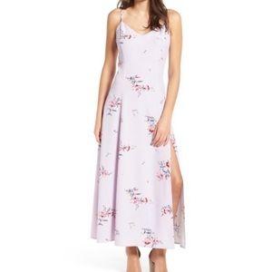 Love fire slit floral sleeveless vneck purple maxi